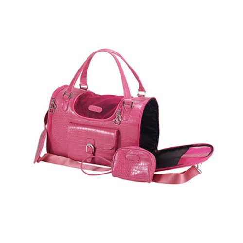 Anima Pink Faux Crocodile Travel Bag, 13-Inch by 7-Inch by 9-Inch, Small, My Pet Supplies