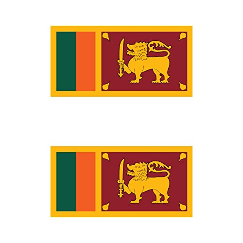 Two Pack Sri Lankan Flag Sticker FA Graphix Decal Self Adhesive Vinyl Sri Lanka LKA LK