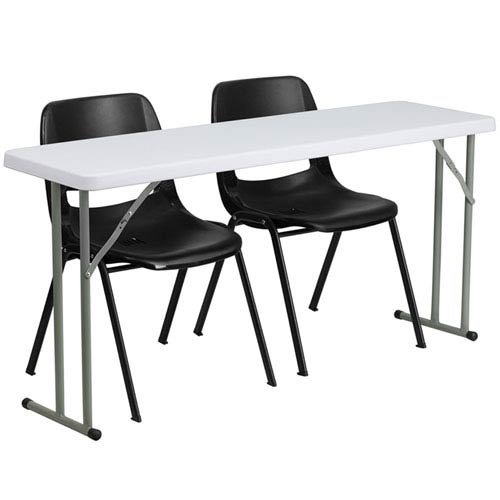 Parkside 18 In. x 60 In. Plastic Folding Training Table with 2 Black Plastic Stack Chairs by Parkside
