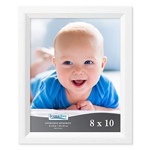 Icona Bay 8x10 Picture Frame (1 Pack, Aspen White Wood Finish), White Photo Frame 8 x 10, Composite Wood Frame for Walls or Tables, Set of 1 Cherished Memories Collection