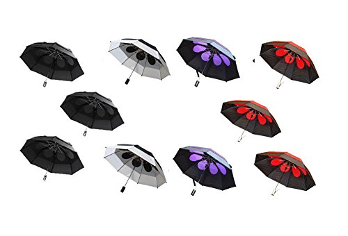 Gustbuster Metro Wind Resistant Umbrellas 10 Pack (Black/Blk-Wht/Blk-Purp/Blk-Red) by GustBuster
