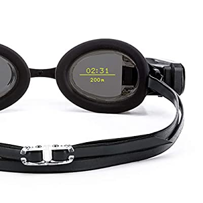 FORM Swim Goggles, Activity Tracker with See-Through Smart Display Built into Premium Anti-Fog Swimming Goggles, Black Mirrored