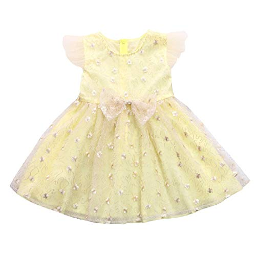 Wedding Party Birthday Dresses Princess Ceremony Babies Girls Flower Print Bow Ruffle Sleeve Tutu Mesh Ball Gowns Toponly
