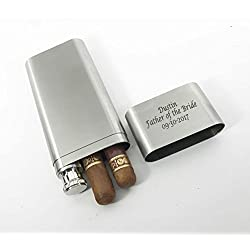 Set of 10 Bulk discount -Groomsmen gifts-Personalized Engraved Custom Stainless Steel Cigar Case, Tube & Flask Free engraving