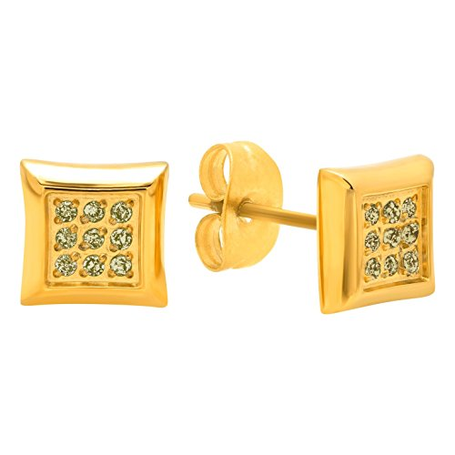 Hip Hop Faux Diamond Stud Earrings (Men's Stainless Steel Diamond Accent Gold-Tone Square Stud Earrings)