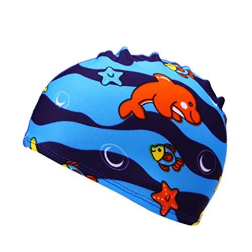 (Cute Cartoon Swim Cap for Kids Baby Boys Girls Waterproof Bathing Caps Swimming Hat Bathing)