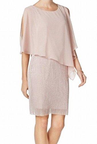 (Connected Apparel Blush Capelet Women's Chiffon Sheath Dress Pink 8)