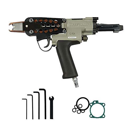Woodpecker C-7EA calibre 15 3/4 pulgadas 7.0-8.0 mm diámetro de cierre neumático automático de alimentación anillo de cerdo Piler C herramienta de anillo C pistola de anillo para esgrima, funda de asiento