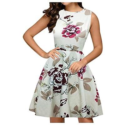 Muranba Womens Sleeveless Black Us Printed Sundress Pockets High Low Floral Dress Round Neck Pocket Zipper Big Swing