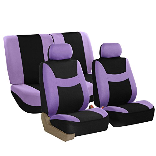 FH GROUP FH-FB030112 Light & Breezy Cloth Full Set Car Seat Covers (Airbag & Split Ready) Purple/ Black - Fit Most Car, Truck, Suv, or Van -