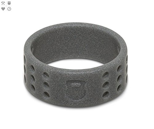 QALO Men's Smoke Grey Perforated Silicone Ring, Size 11