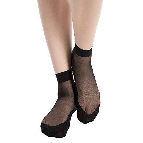 Plus Size Sheer Stockings (Stocking Fox Women's 3-Pack 15-Denier Silky Anti-Slip Sheer Ankle Sock One Size Black)
