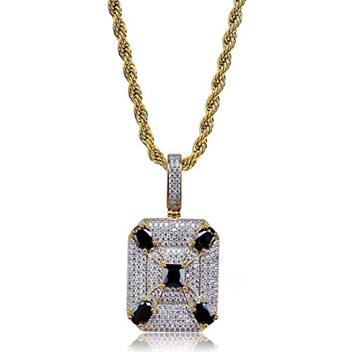 TOPGRILLZ 14K Gold and Silver Plated Iced Out CZ Lab Cluster Diamond Big Rock Solitaires Dog Tag Pendant Necklace Chain for Men Hip Hop (DC 5 Black Zirconia) ()