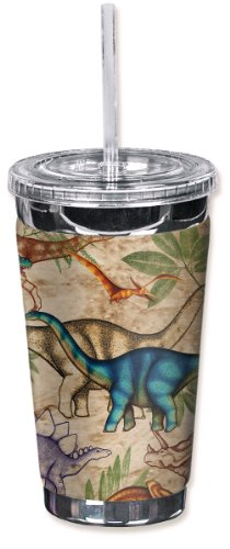 Mugzie 640 Tgc  Jungle Dinosaurs  To Go Tumbler With Insulated Wetsuit Cover  16 Oz  Black