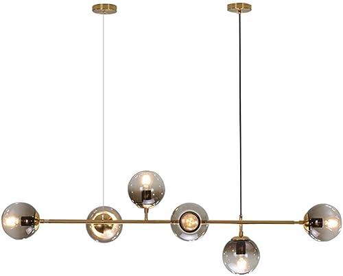 Modo Lighting Mid-Century Modern Ceiling Pendant Chandelier Golden 6 Light Globe Glass Hanging Light
