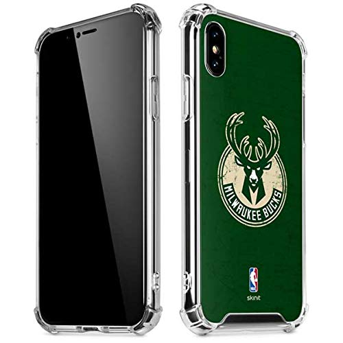 Skinit Milwaukee Bucks Green Distressed iPhone XR Clear Case - Officially Licensed NBA Phone Case Clear - Transparent iPhone XR Cover