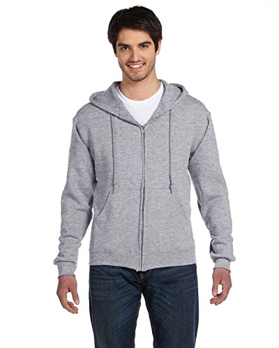 FOL 82230 Adult Supercotton Full-Zip Hooded Sweatshirt - Athletic Heather, 2XL
