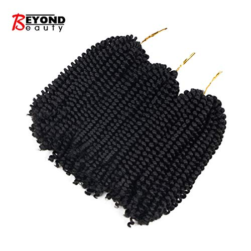 3 Pack Spring Twist Crochet Braids Bomb Twist Crochet Hair Ombre Colors Synthetic Fluffy Hair Extension 8inch 110g(1B)
