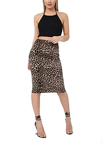 Rimi Hanger Womens Printed Stretch Bodycon Midi Skirt Ladies Fancy Party Wear Pencil Skirt Brown Leopard Print X Large (Stretch Leopard Skirt)