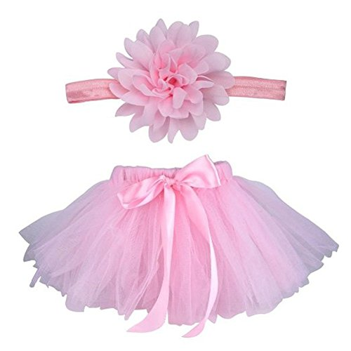 iFergoo Baby Photography Prop Infant Tutu Skirt, Ifergo Newborn Costume Bow-Knot Dress Outfits with Headband, Baby Photo Prop, Crochet Baby Clothes (Pink Skirt for Newborn Baby)