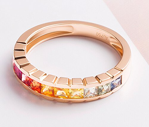 18K Gold Ring,1.2Ct Square Cut Certified Diamond Colorful Sapphire Ruby Promise Ring for Women Size 8 by Epinki (Image #2)