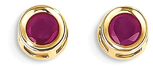 ICE CARATS 14k Yellow Gold Red Ruby Post Stud Ball Button Earrings July Birthstone Bezel by ICE CARATS
