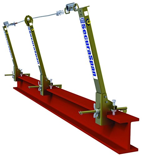3M DBI-SALA Secura Span 7400047 Horizontal Lifeline System, Stanchion with I-Beam Base, Fits 6'' To 12'' Wide Flange Up To 2-1/4'' Thick, Gold by 3M Fall Protection Business (Image #1)