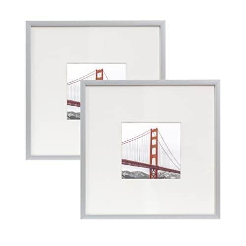 Frametory Square Metal Frame Collection Set of 2-8X8 Silver Picture ...
