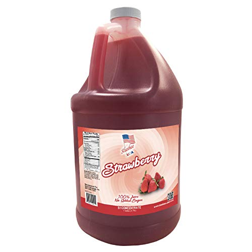 100% Fruit Juice Strawberry Slushee Mix (NO ADDED SUGAR) | Case of 4 x 1 Gallons - 512 oz | (Yields Approximately 286-12oz Servings Per Case) | Mix 5 Parts Water With 1 Part Syrup