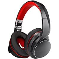 AUSDOM Wireless Bluetooth 4.2 Over-Ear Headphones Apt-X Low Latency with Mic, Fast Audio for TV PC Gaming, Noise Cancelling Foldable Wired Headset, Stereo Lightweight Comfortable, 16 hours Play Time