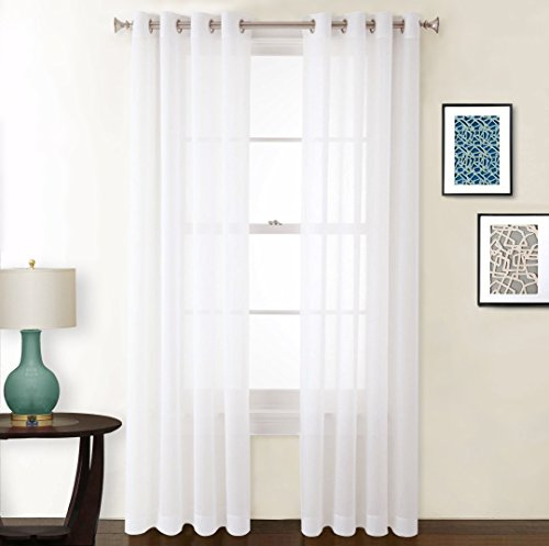 NICETOWN Sheer Curtain Panels with Grommet - Elegant Crushed Sheer Window Covering Crinkled Voile Draperies for Bedroom, Off White, 2 Pieces, 52 wide x 63-inch length