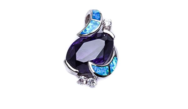 Cz .925 Sterling Silver Pendant 1.5 Oxford Diamond Co Lab Created White Opal Amethyst