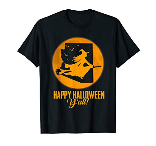Happy Halloween Y'all Arizona Witch Map T-shirt -