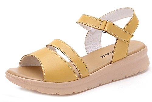 Bout Plage Jaune Nouveau Sandales Femme Mode Aisun Style Ouvert YwFgIaqx