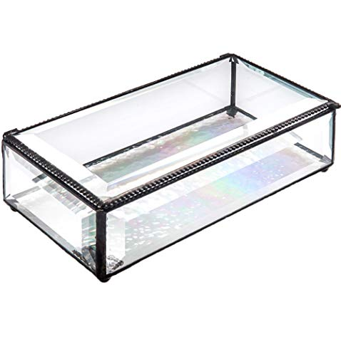 J Devlin Box 830 Large Clear Beveled Glass Jewelry Keepsake Box Home Decor ()