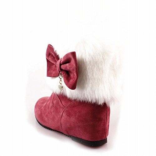 Pendant Peach Heel Carolbar Hidden Snow Bows Sweet Fashion Faux Cute Womens Boots Dress Red Fur TTnqZ0OB