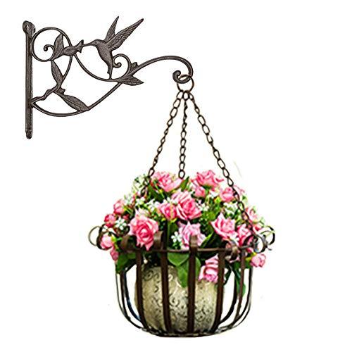 (Plant Hanger Brackets Wall Mounted - Cast Iron Metal Wrought Plants Hangers Hanging Decorative Hummingbird Hooks Holder for Indoor Outdoor Flower Basket Pot Planter Bird Feeder Wind Chimes)