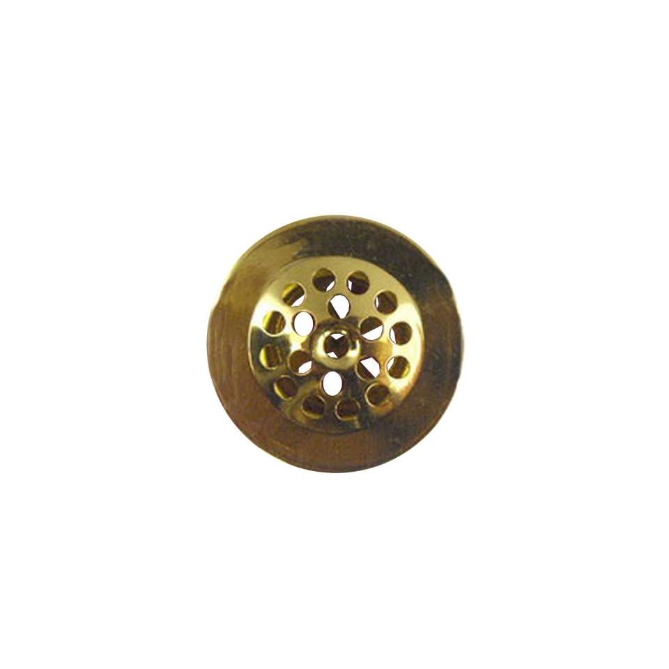 Lasco 03 5007 11/4 Inch Fine Thread Bathtub Drain Shoe Strainer, Polished Brass