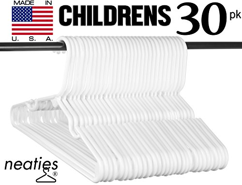 Children's Size White Plastic Hangers, USA Made Long Lasting Tubular Hangers, Set of 30