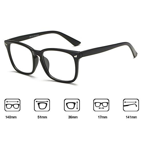Hommes Femmes lunettes - Transparents Lunettes Cadre - Lunettes + Etui Verres Gratuit - hibote # 122802 Noir de sable