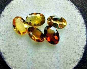 Citrine Parcel (5 count, 6x4mm Oval Cut Tourmaline Faceted Gemstone Parcel. Tourmaline Crystals for Collection, Wire Wrapping, Healing, Jewelry)