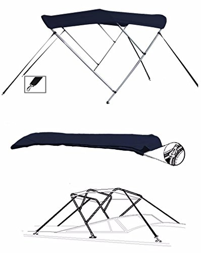 7oz Navy 3 Bow Round Tube Boat Bimini TOP Sunshade for CRESTLINER 1650 Fish Hawk SC O/B W/TM 2016-2018
