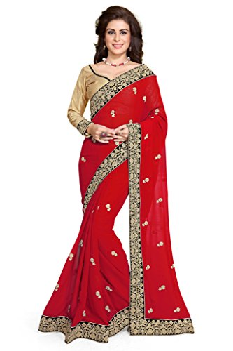 Women's Embroidery Indian Bollywood Wedding Saree Red Mirchi Fashion Partywear Dress