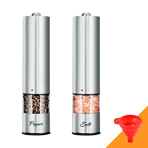 Premium Electric Stainless Steel Salt and Pepper Grinder Set, Battery Operated Pepper Mill Shaker with Adjustable Coarseness & LED Light & Bottom Cap, Collapsible Funnel Include