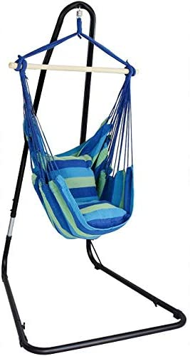 Sorbus Hanging Rope Hammock Chair Swing Seat with Adjustable Multi-Use Stand for Any Indoor or Outdoor Spaces