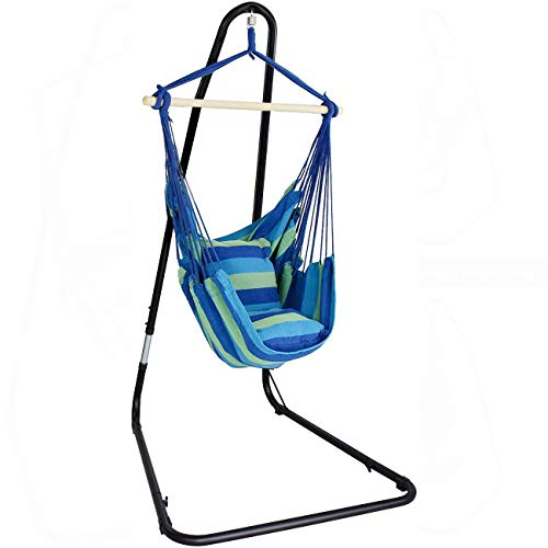 Sorbus Hanging Rope Hammock Chair Swing Seat with Adjustable Multi-Use Stand for Any Indoor or Outdoor Spaces (Swing Interior Chair)