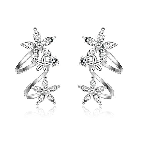 - NewZenro Flower Fariry CZ Ear Cuff Wrap Earrings for Women Girls Fashion Cubic Zirconia Clip Crawler Climber Hypoallergenic (Silver)