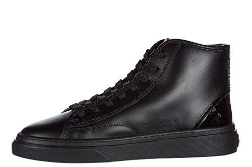 Hogan scarpe sneakers alte donna in pelle nuove h342 nero