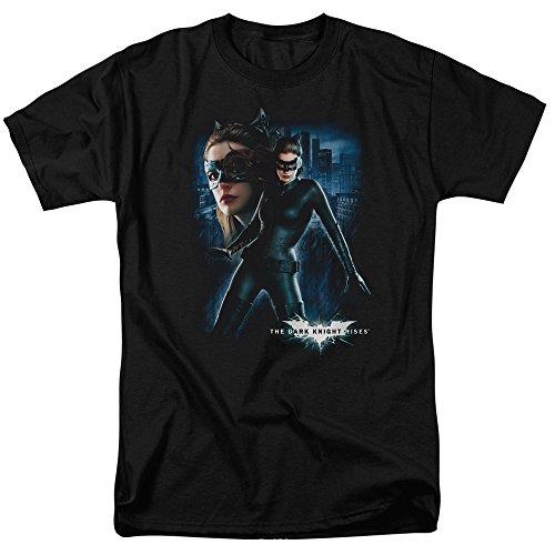 Trevco Men's Batman Dark Knight Rises Short Sleeve T-Shirt, Catwoman Black, -