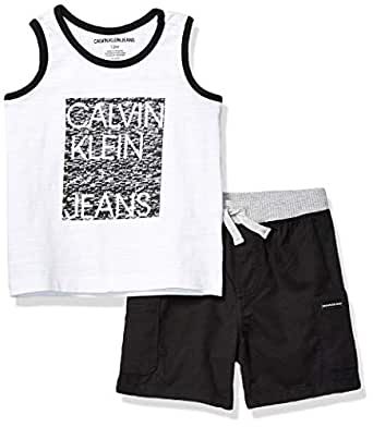 Calvin Klein Baby Boys 2 Pieces Tank Short Set, White/Charcoal, 12M